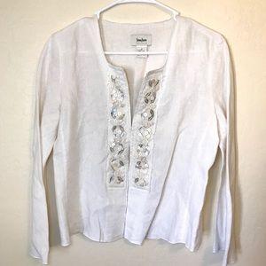 Neiman Marcus 100% Linen Beaded Jacket Top Medium